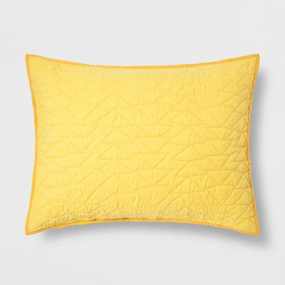 Triangle Stitch Microfiber Sham Yellow - Pillowfort™