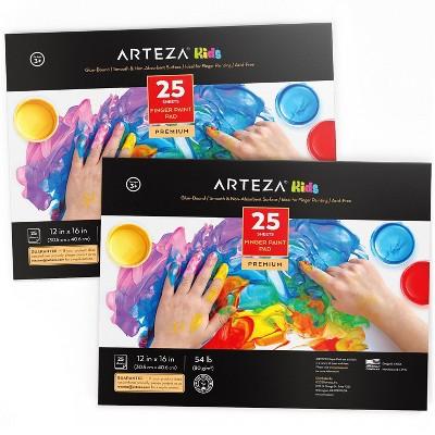 "Arteza Finger Paint Paper Pad, 12"" x 16"", 25 Sheets, Pack of 2"