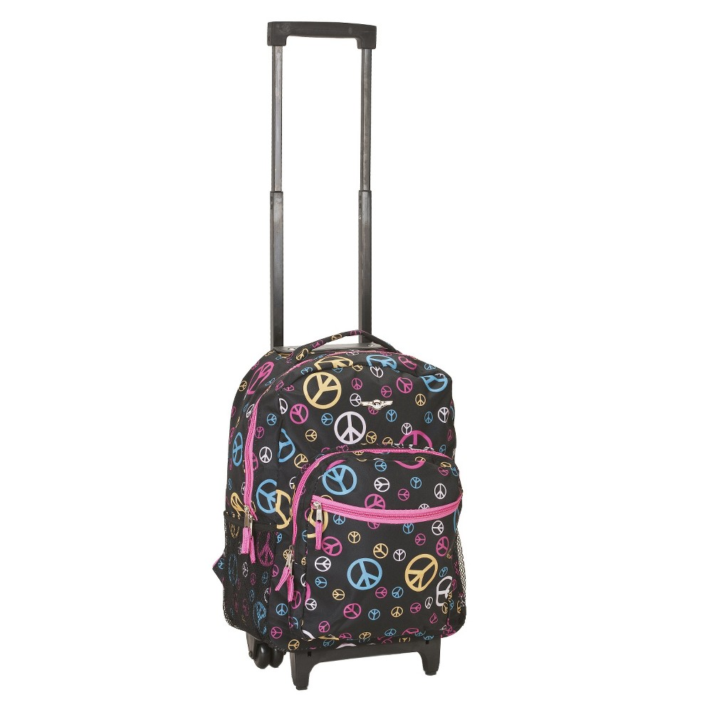 Rockland 17 Roadster Rolling Backpack Black Pink Adriatic Blue
