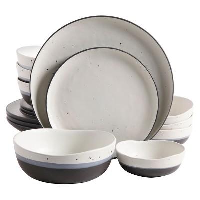 Gibson Rhinebeck 16pc Double Bowl Dinnerware Set White