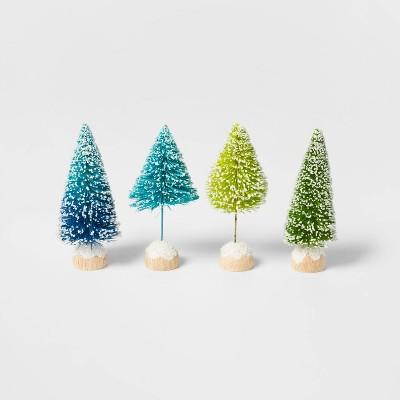 4pk Bottle Brush Christmas Tree Set Blue/Green - Wondershop™