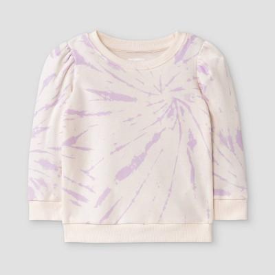 Grayson Mini Toddler Girls' Tie-Dye Fleece Pullover Sweatshirt - Purple