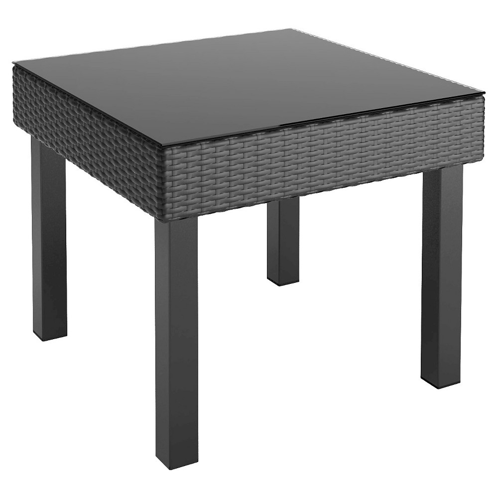 Image of CorLiving Oakland Patio End Table - Textured Black Weave