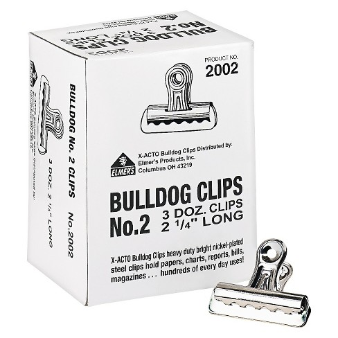 "X-ACTO® Bulldog Clips, Steel, 1/2"" Capacity, 2-1/4""w, Nickel-Plated, 36/Box - image 1 of 1"