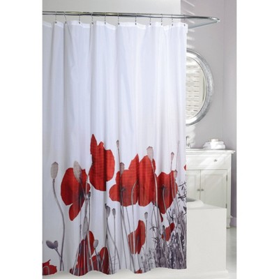 Poppy Fields Shower Curtain Red/White - Moda at Home
