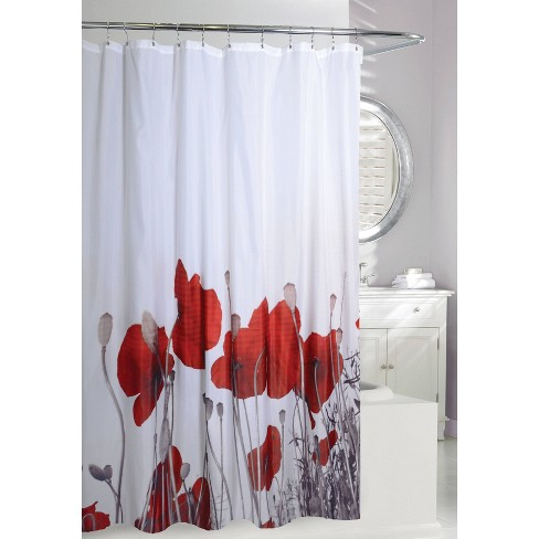 Poppy Fields Shower Curtain Red/White - Moda at Home - image 1 of 2
