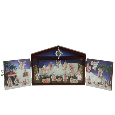 Roman 25-Piece Blue and White Christmas Nativity Advent Calendar Set