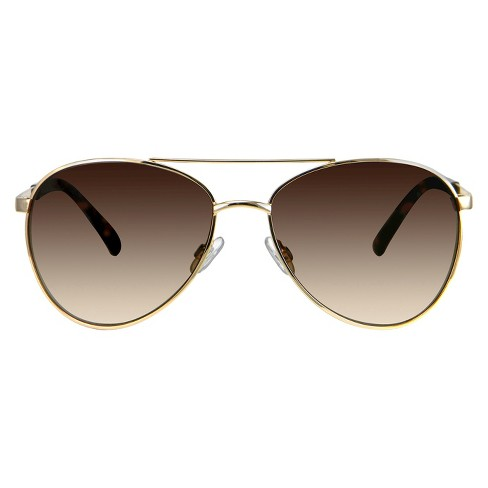 Women's Aviator Sunglasses - A New Day™ Gold - image 1 of 2