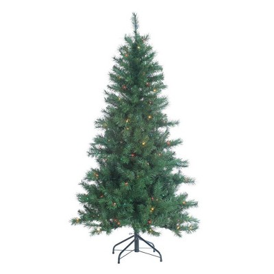 5ft Sterling Tree Company Pre-Lit Colorado Spruce with 200 Multicolored Lights Artificial Christmas Tree