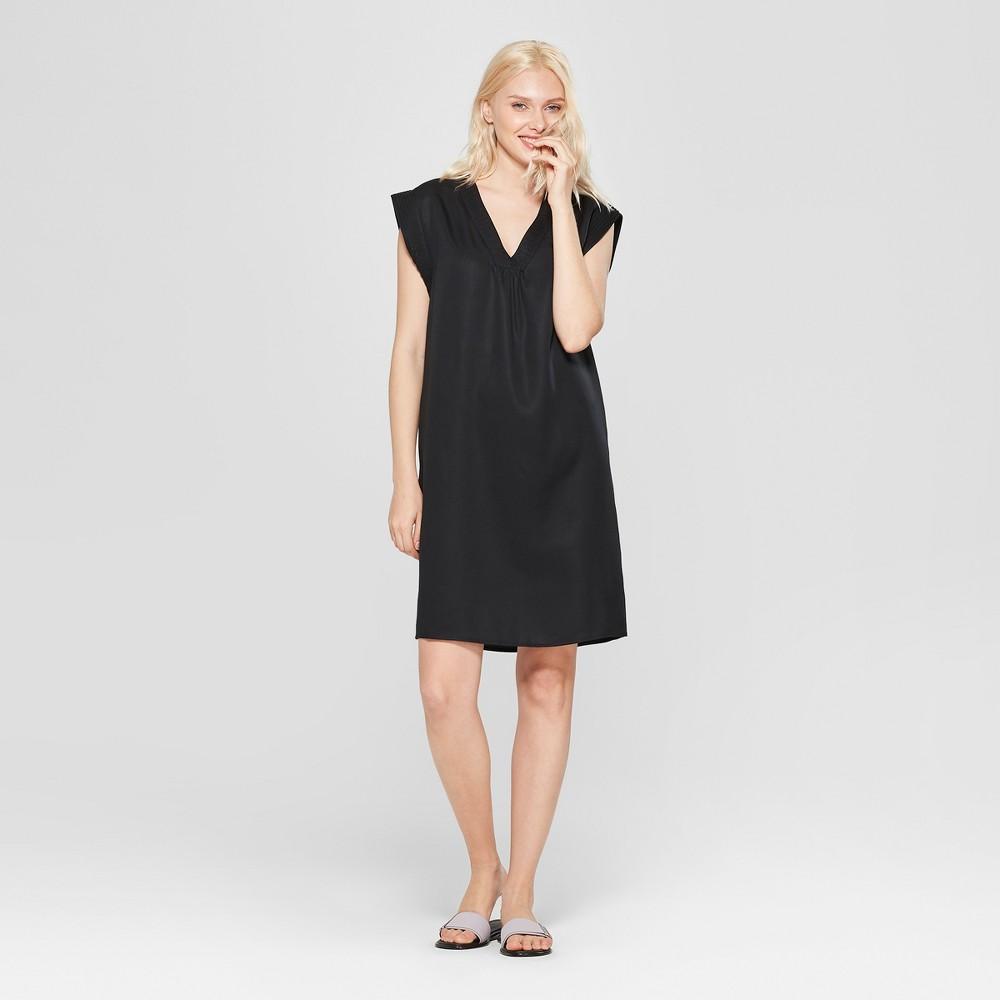 Women's Short Sleeve V-Neck Shift Dress - A New Day Black Xxl