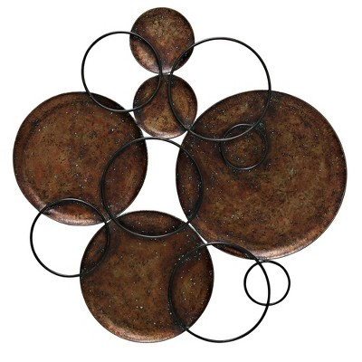 37.4  Hammered Circles Connected By Metal Circles Decorative Wall Art Copper - StyleCraft