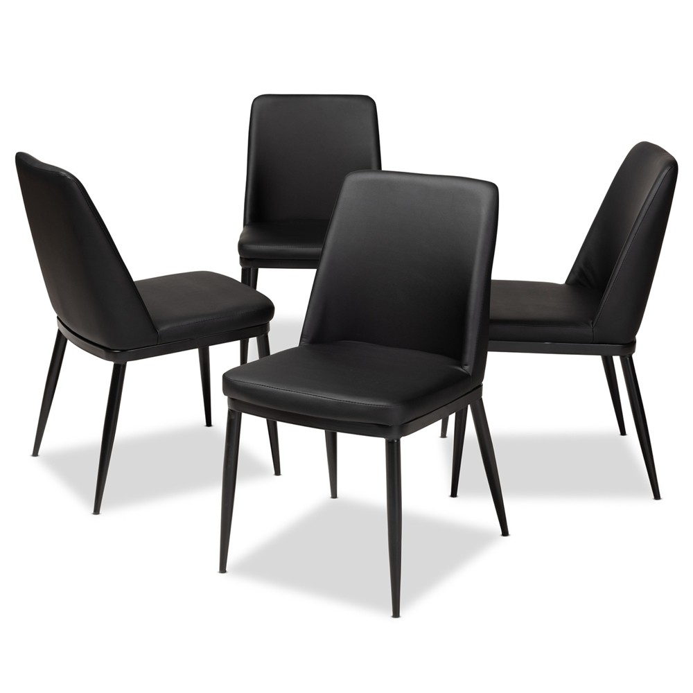Darcell Modern and Contemporary Faux Leather Upholstered Dining Chairs Set of 4 Black - Baxton Studio