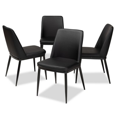 Darcell Modern And Contemporary Faux Leather Upholstered Dining Chairs Set  Of 4   Baxton Studio