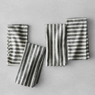 Striped Napkins (Set of 4)- Black/Cream - Hearth & Hand™ with Magnolia