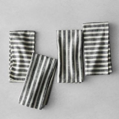 Striped Napkins (Set of 4)- Black/Cream - Hearth & Hand™ with Magnolia