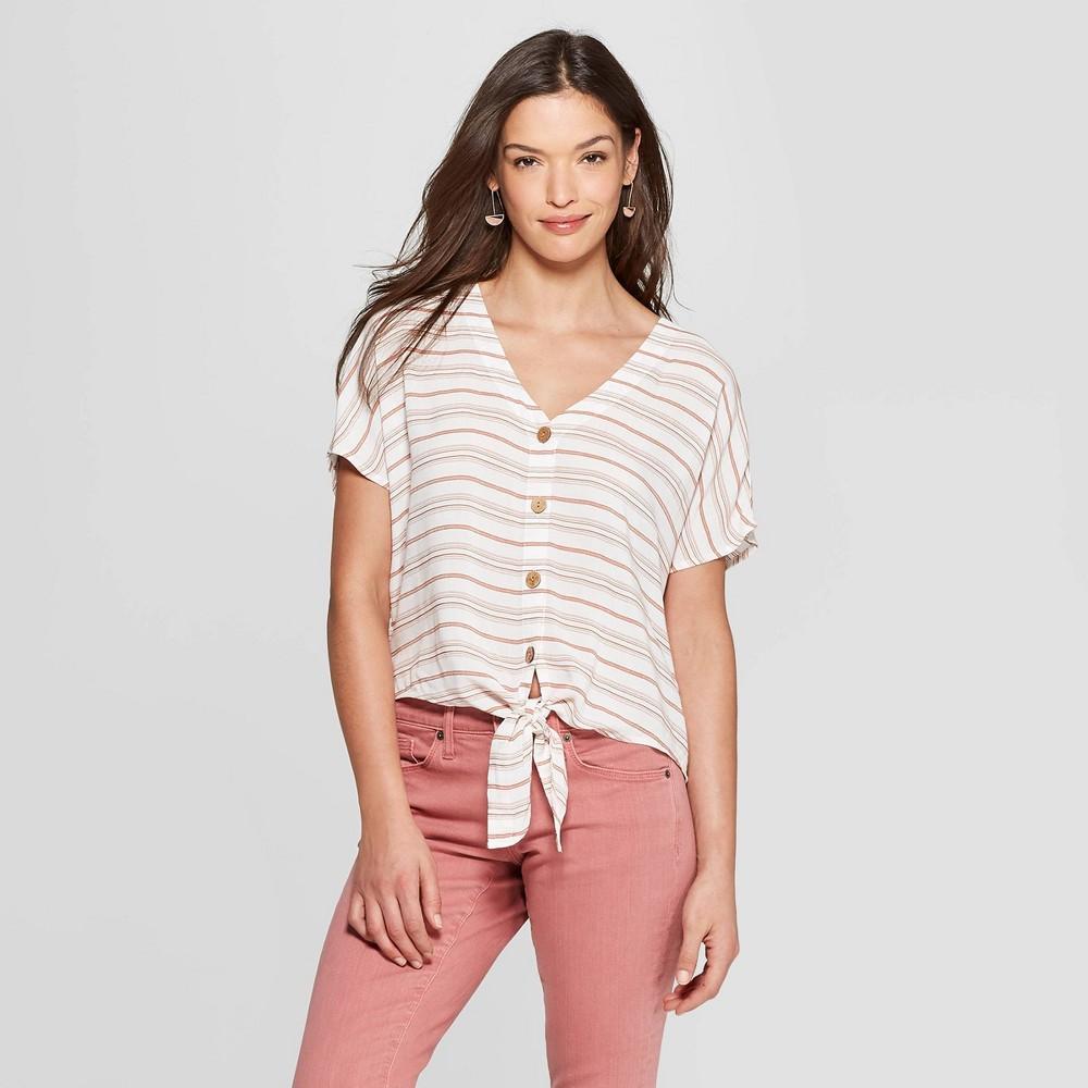 Women's Striped Short Sleeve Tie Front Top - Universal Thread Orange M