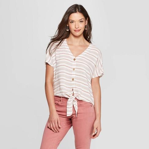 5536727d51a Women s Striped Short Sleeve Tie Front Top - Universal Thread™ Orange    Target