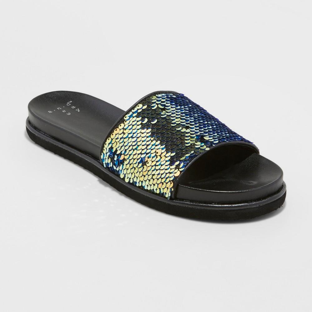Women's Adila Slide Sandals - A New Day Black 5.5