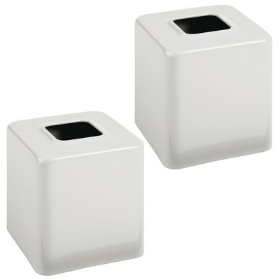 mDesign Metal Square Paper Facial Tissue Box Cover Holder - 2 Pack