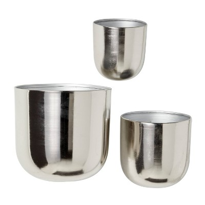 Set of 3 Contemporary Metal Wall Planters - Olivia & May