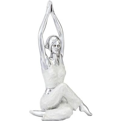 """Dahlia Studios Gomukhasana Cow Face Yoga Pose 16 1/2"""" High Silver Sculpture"""