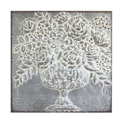 Square Metal Floral Bouquets Wall Décor - 3R Studios
