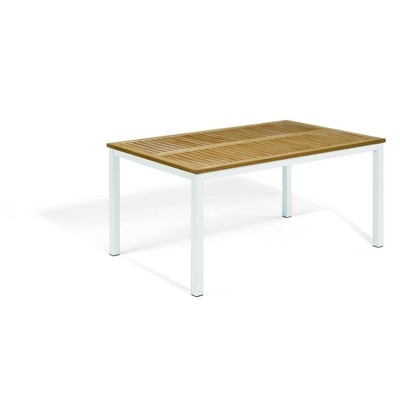 "Travira 63"" Rectangular Patio Table with Natural Tekwood Top & Chalk Powder-Coated Aluminum Frame - Oxford Garden"