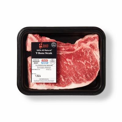 USDA Choice Angus Beef T-Bone Steak - 0.79-1.31 lbs - price per lb - Good & Gather™