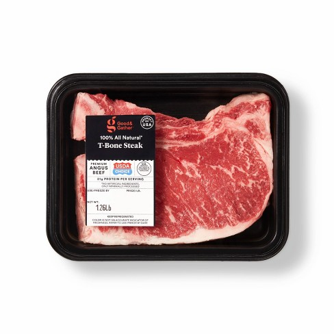 USDA Choice Angus Beef T-Bone Steak - 0.79-1.31 lbs - price per lb - Good & Gather™ - image 1 of 2