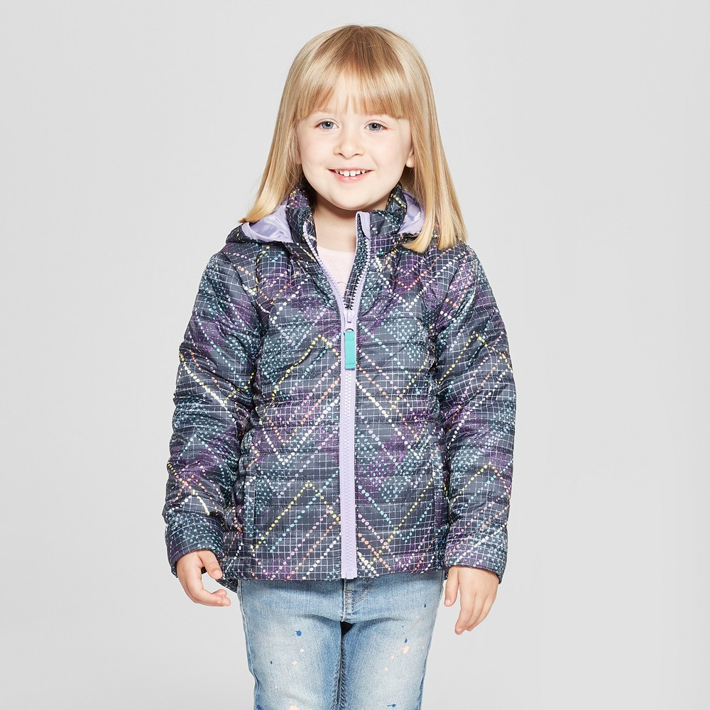 Toddler Girls' Herringbone Midweight Puffer Jacket - Cat & Jack Gray 18M
