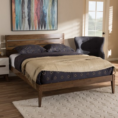Elmdon Mid - Century Modern Solid Wood Slatted Headboard Style Platform Bed - Full - Brown - Baxton Studio