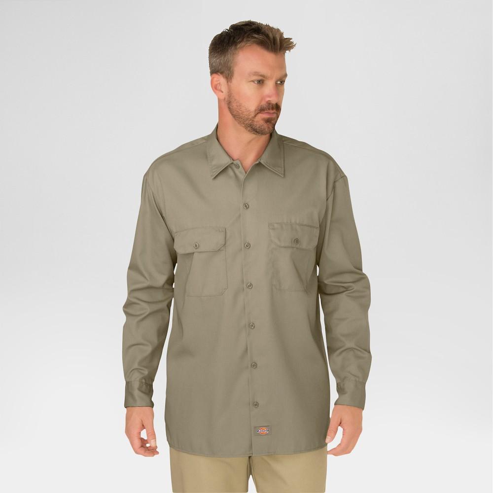 Dickies Men's Original Fit Twill Long Sleeve Shirt-Khaki L, Green