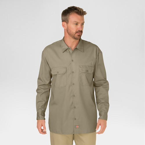 Dickies Men's Big & Tall Original Fit Long Sleeve Twill Work Shirt- Khaki XXXL, Green