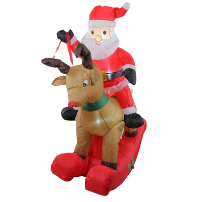 Northlight 4.75' Pre-Lit Red Inflatable Rocking Reindeer and Santa Outdoor Christmas Yard Decor