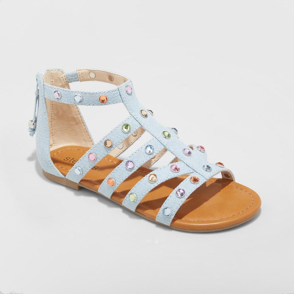 Girls' My Squad Embellished Denim Gems Sandals - Stevies Blue 2
