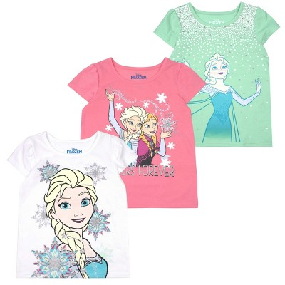 Disney Girl's 3-Pack Sleeve Graphic Tees for Toddlers