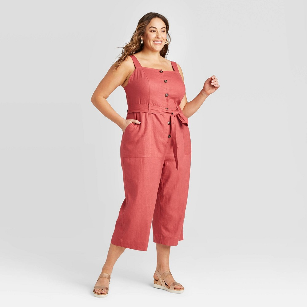 Women's Plus Size Sleeveless Square Neck Button-Front Linen Jumpsuit - Ava & Viv Rust 4X, Women's, Size: 4XL, Red was $34.99 now $24.49 (30.0% off)