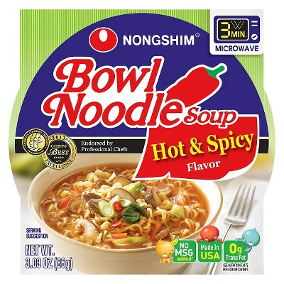 Nong Shim Noodle Bowl Soup Hot & Spicy Flavor 3.03oz