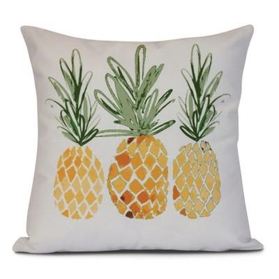 Gold/White Pineapples Print Pillow Throw Pillow (16 x16 )- E by Design
