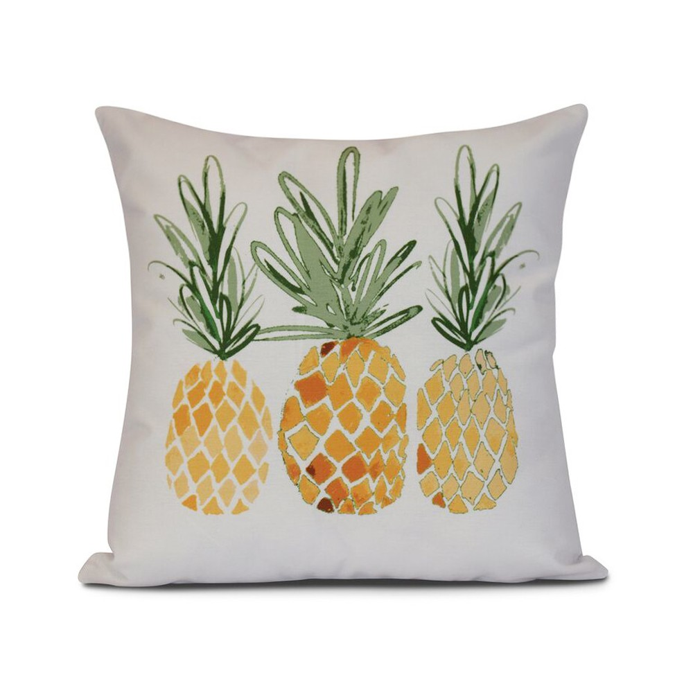 "Image of ""Gold/White Pineapples Print Pillow Throw Pillow (16""""x16"""") - E by Design, Yellow"""