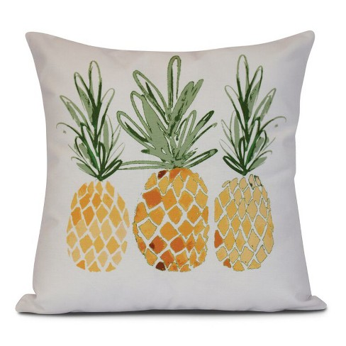 "Gold/White Pineapples Print Pillow Throw Pillow (16""x16"") - E by Design - image 1 of 1"