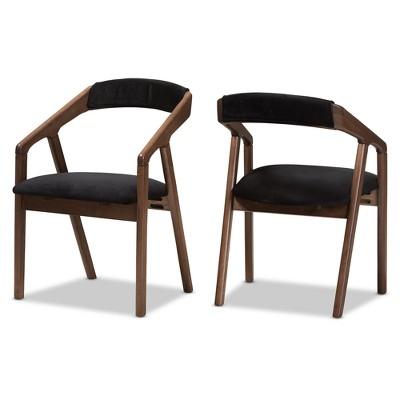Set of 2 Wendy Midcentury Modern Velvet And Walnut Wood Finishing Dining Chairs Dark Gray/ Brown - Baxton Studio