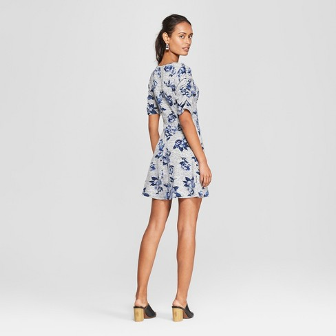 db7e6730c0e1 Women s Floral Print Short Sleeve Knit Hacci Dress - Lots Of Love By  Speechless (Juniors ) Gray Blue L   Target