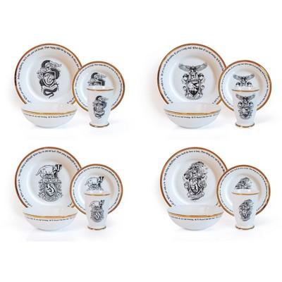Robe Factory LLC Harry Potter Hogwarts House Logos 16-Piece Ceramic Dinnerware Set