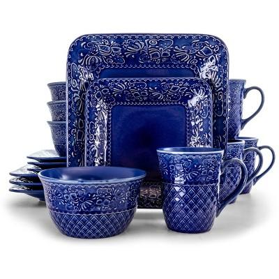16pc Stoneware Floral Night Sky Square Dinnerware Set Blue - Elama