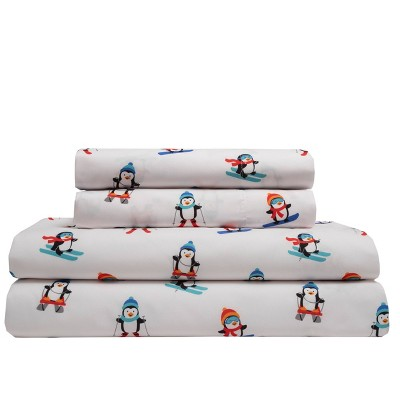King Holiday Print Microfiber Sheet Set Alpine Penguin - Elite Home Products