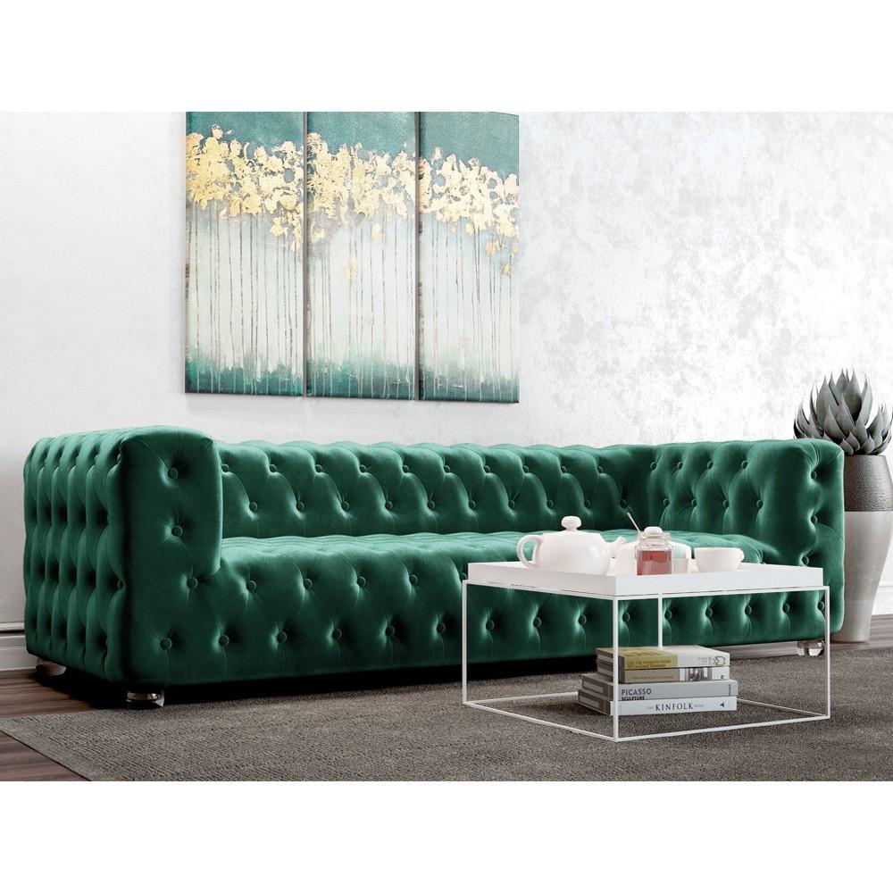 Ruby Tufted Velvet Sofa Emerald Green - AF Lifestlye