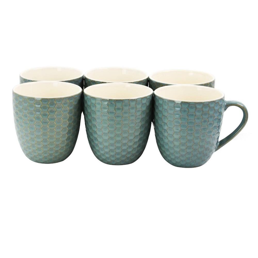 Image of 15oz 6pk Hexagon Mugs Blue - Elama
