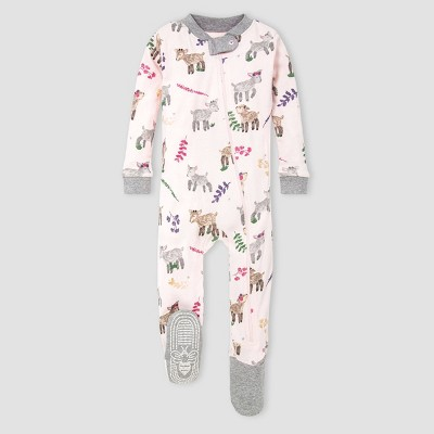 Burt's Bees Baby® Baby Girls' Organic Cotton Goats Footed Pajama - Pink/Gray 3-6M