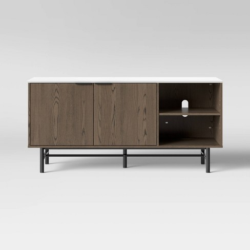 Ladera Wood Media Stand With Storage Brown Project 62